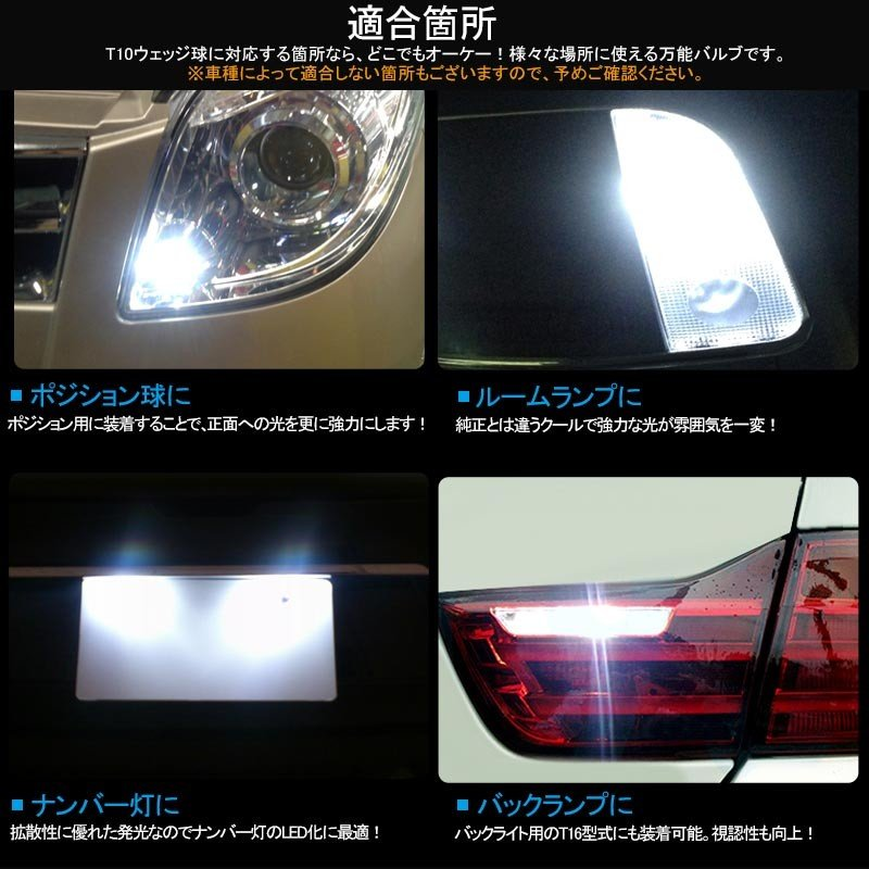 長寿命 高品質 T10/T15/T16 LEDバルブ 面発光 セラミック素材 2個 ライセンスランプ マップランプ ホワイト 5630チップ ナンバー灯|field-ag|08