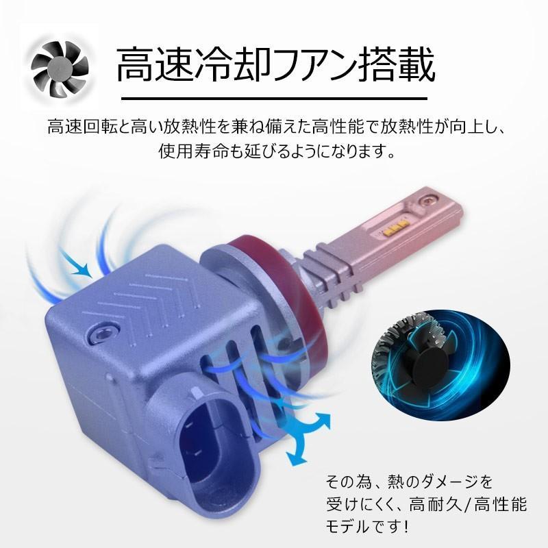 9S H8/H11/H16 一年保証 コンパクト オールインワン LEDヘッドライト 6連 Philips ZES 高輝度 取付簡単 長寿命 6000LM 6500K 高速冷却フアン搭載 IP65防水|field-ag|04