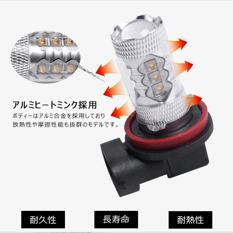 LEDフォグランプ H8 80W 爆光OSRAM製チップ 白/ホワイト車検対応 配線不要 簡単交換 LEDフォグ LED フォグランプ フォグライト|field-ag|05