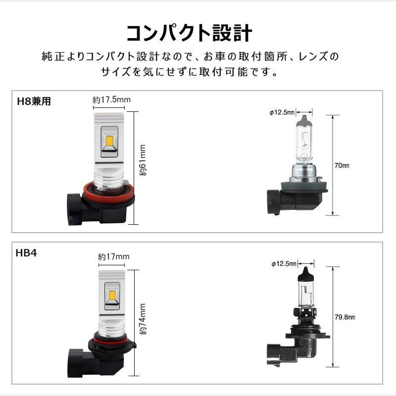 イエローledフォグランプ 60W h8/h9/h11/h16兼用 HB4 無極性 トラック led h8 led 汎用 視認性高い CSPチップ搭載 イエロー発光 2個セット field-ag 05