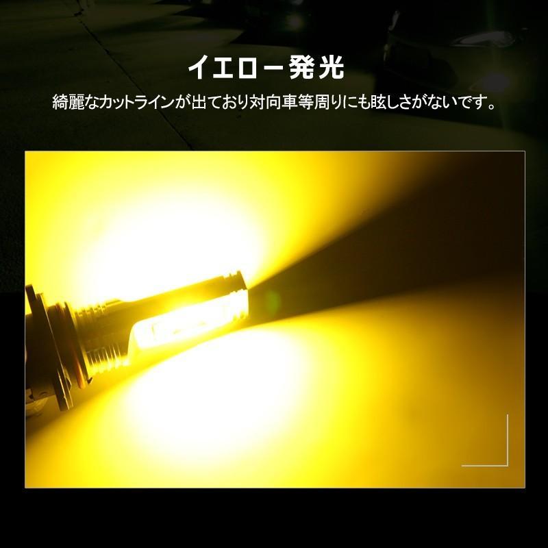 イエローledフォグランプ 60W h8/h9/h11/h16兼用 HB4 無極性 トラック led h8 led 汎用 視認性高い CSPチップ搭載 イエロー発光 2個セット field-ag 07