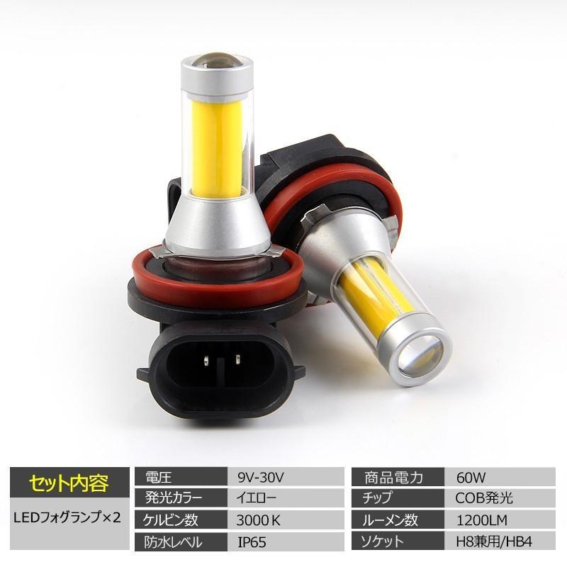イエローledフォグランプ 60W h8/h9/h11/h16兼用 HB4 無極性 トラック led h8 led 汎用 視認性高い COB発光 イエロー発光 2個セット|field-ag|02