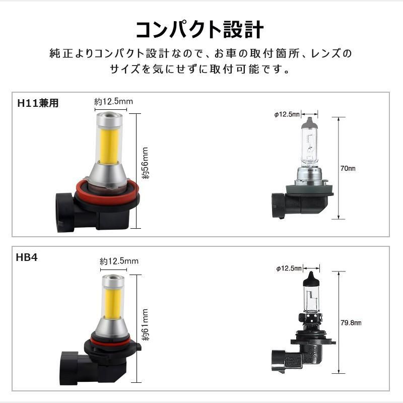 イエローledフォグランプ 60W h8/h9/h11/h16兼用 HB4 無極性 トラック led h8 led 汎用 視認性高い COB発光 イエロー発光 2個セット|field-ag|06