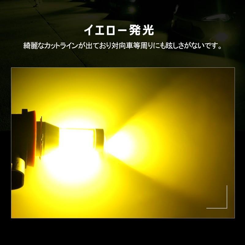 イエローledフォグランプ 60W h8/h9/h11/h16兼用 HB4 無極性 トラック led h8 led 汎用 視認性高い COB発光 イエロー発光 2個セット|field-ag|08
