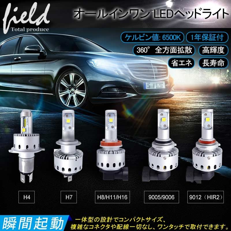 オールインワン LEDヘッドライト CREE社 XHP50搭載タイプ 純白/6500K 12V 対応 一体型 ワンタッチ取付 field-ag