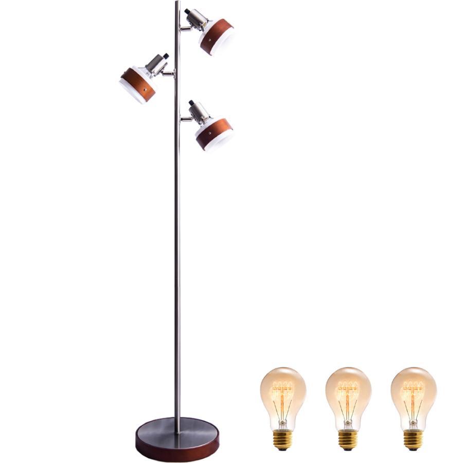 フロアー スタンド 木製 フロア ランプ 3灯 おしゃれ スポット 電球色 エジソン 電球 付 LED対応 ナイト ライト 間接 照明 器具 リビング かっこいい Nimos NKF finekagu 02