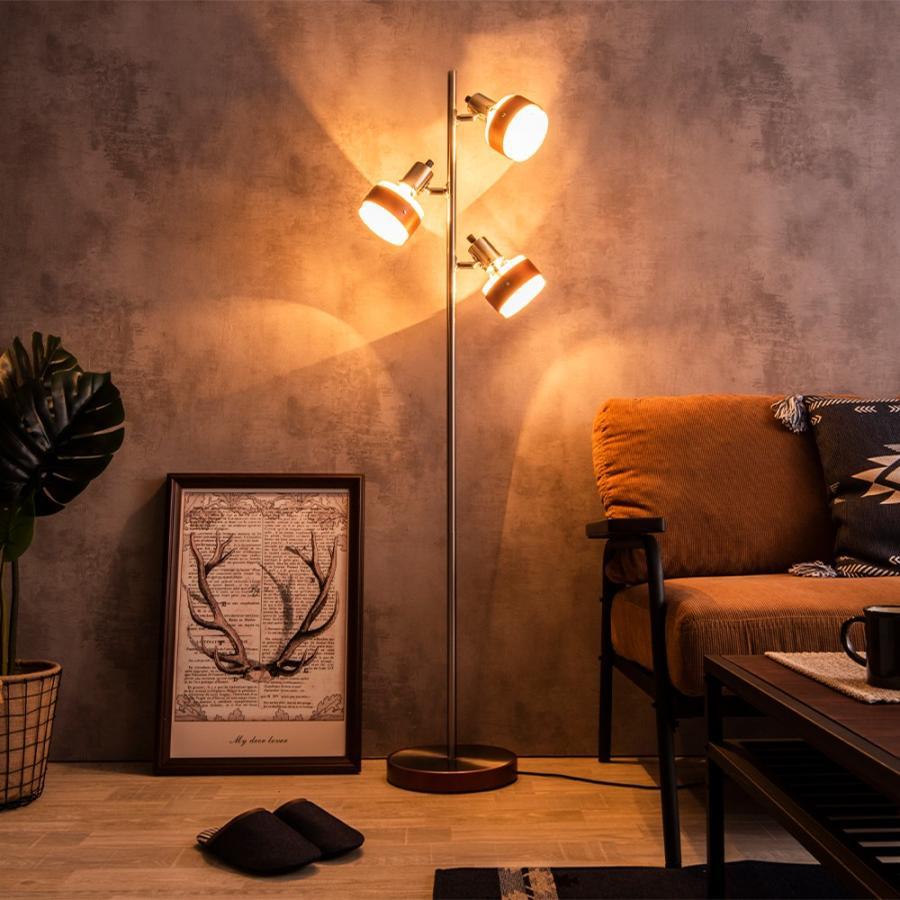 フロアー スタンド 木製 フロア ランプ 3灯 おしゃれ スポット 電球色 エジソン 電球 付 LED対応 ナイト ライト 間接 照明 器具 リビング かっこいい Nimos NKF finekagu 13
