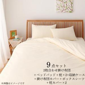 東洋紡素材使用 洗える防ダニ布団 ベッド用 Flulio フルリオ 布団・布団カバーセット 洗える2枚合わせ掛け布団+洗えるベッドパッドタイプ ダブル9点セット