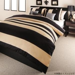 日本製・綿100% エレガントモダンボーダーデザインカバーリング winkle ウィンクル 布団カバーセット ベッド用 43×63用 クイーン4点セット