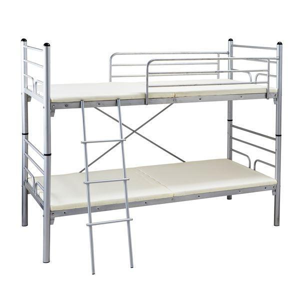 スタッキングベッド/二段ベッド 〔シルバー〕 上段・下段分割式 スチールフレーム〔代引不可〕