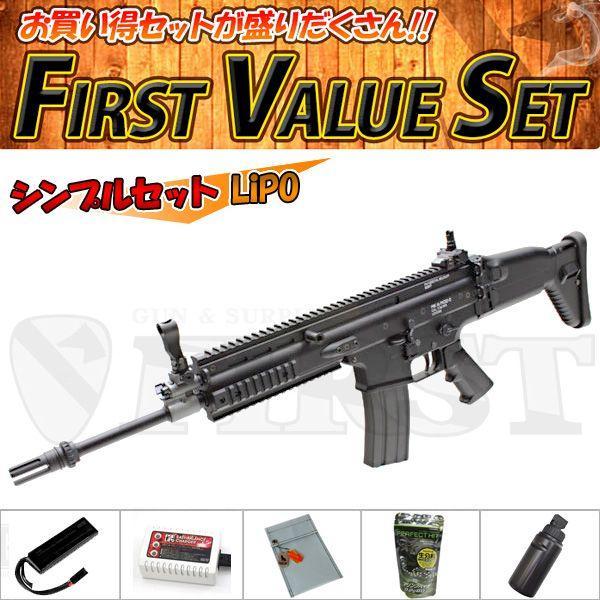(6点セット品)東京マルイ 次世代電動ガン SCAR-L Mk16 Mod.0 BK シンプルセット(リポ)バイオ LiPo 4952839176110 fvs-b-li フルセット