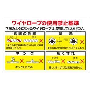 安全標識 KG-231 『ワイヤーロープの使用禁止基準』 小型掲示板 ...