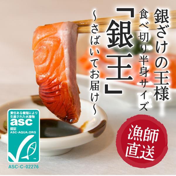 【ASC認証】銀鮭の王様、「銀王」刺身用銀鮭冷凍フィレを食べやすい半身でお届け ◯ fishermanjapan