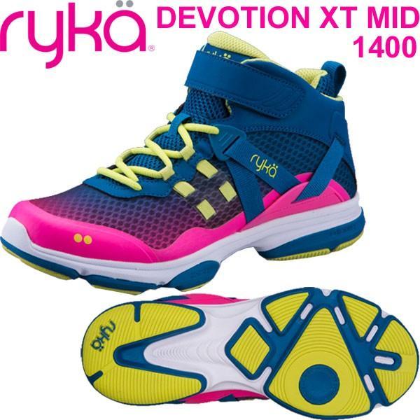 【当店限定販売】 RYKAライカ フィットネス DEVOTION XT MID (ブルー×ピンク) F4334M-1400(22.0〜26.5cm/レディース/メンズ)ディボーションXTミッド, ホビーライフジャパンWEST 37b25b58