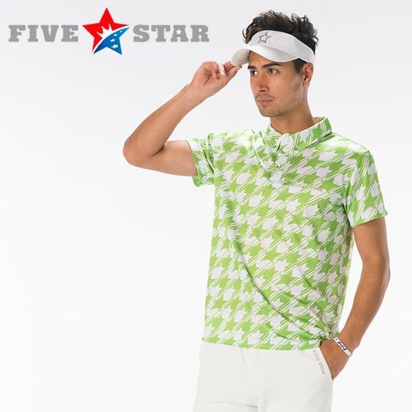 FIVESTAR(ファイブスター) 千鳥スター ポロ 千鳥柄 ポロシャツ メンズ ゴルフウエア