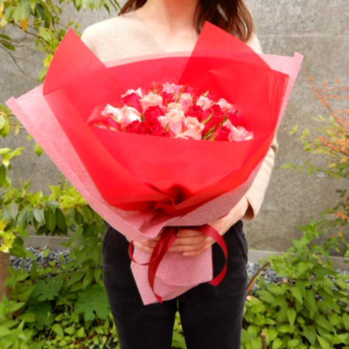 ギフト お祝い バラの花束 50本 の花束ブーケ 誕生日 記念日 プロポーズ 即日発送 あすつく 花 RSBQ|fkjiyugaoka|15