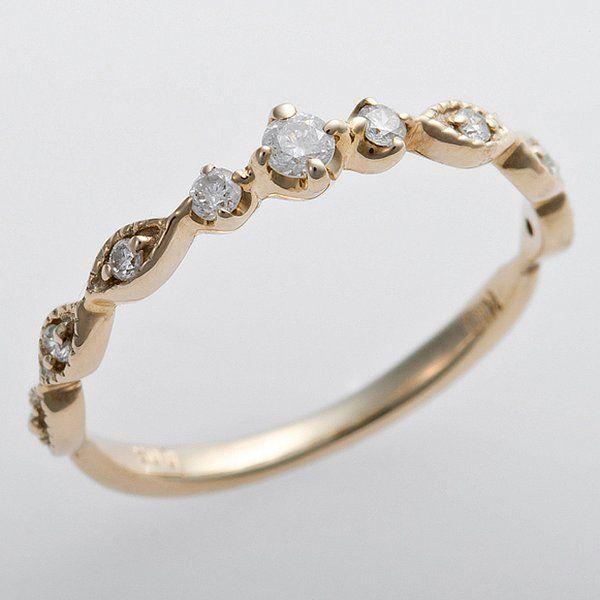 気質アップ K10イエローゴールド 天然ダイヤリング 指輪 ピンキーリング ダイヤモンドリング 0.09ct 5号 アンティーク調 プリンセス, オシミズマチ e089c5f4