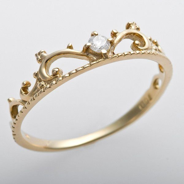 お手頃価格 ダイヤモンド リング K10イエローゴールド ダイヤ0.05ct 8.5号 アンティーク調 プリンセス ティアラモチーフ, クドウグン 4341e140