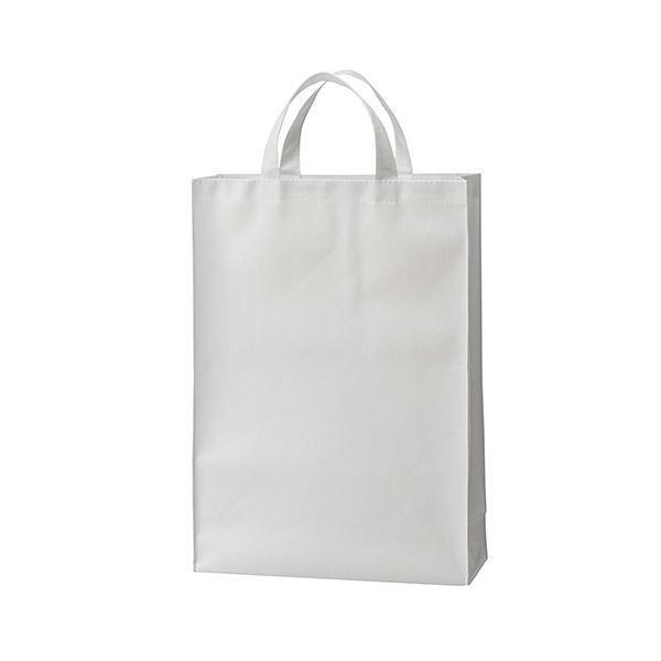 (まとめ) TANOSEE 不織布バッグ 中ヨコ320×タテ450×マチ幅120mm ホワイト 1パック(10枚) 〔×5セット〕