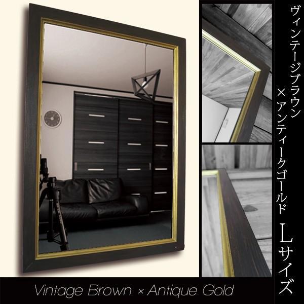 壁掛けミラー 鏡 アンティーク ビンテージ おしゃれ 洗面所ミラー ブラウン ゴールド かっこいい
