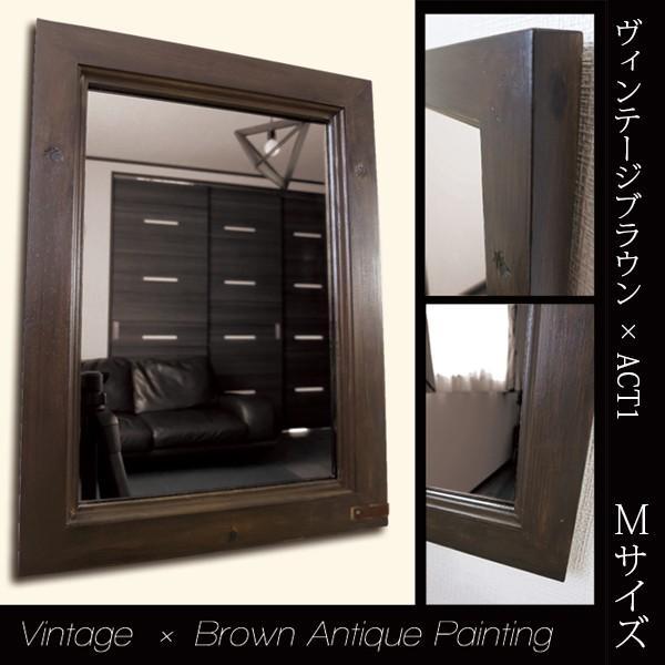壁掛け鏡 ミラー アンティーク ビンテージ おしゃれ ブラウン かっこいい