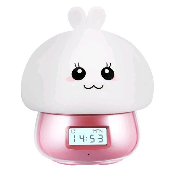 目覚まし時計 こども 置き時計 デジタル時計 翌日発送 USB充電 アラーム時計 遠隔操作  録音機能 部屋 子供 おしゃれ 光 キノコ型 ウサギ flatstonebruno