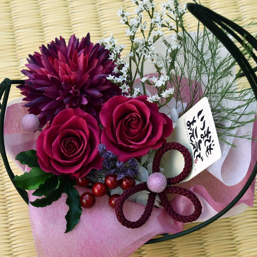 母の日プレゼントプリザーブドフラワー 和風アレンジ 雫(しずく)&スイーツセット(リングフィナンシェ) 母の日 花 ギフト 誕生日 お祝い|flavor|13