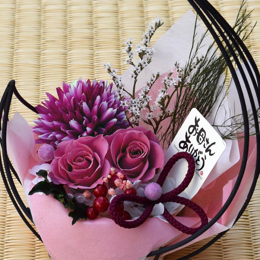 母の日プレゼントプリザーブドフラワー 和風アレンジ 雫(しずく)&スイーツセット(リングフィナンシェ) 母の日 花 ギフト 誕生日 お祝い|flavor|15