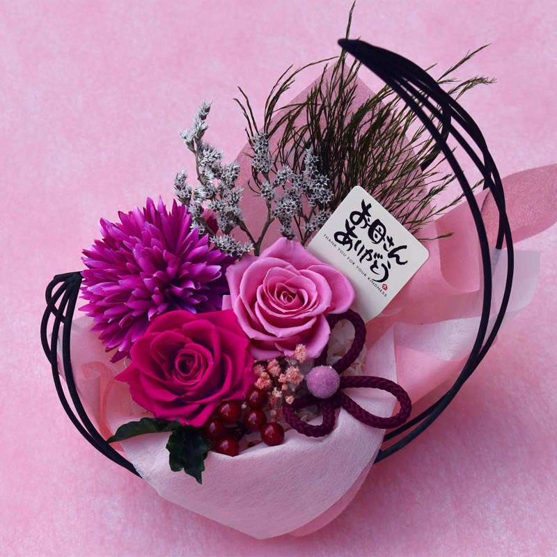母の日プレゼントプリザーブドフラワー 和風アレンジ 雫(しずく)&スイーツセット(リングフィナンシェ) 母の日 花 ギフト 誕生日 お祝い|flavor|09