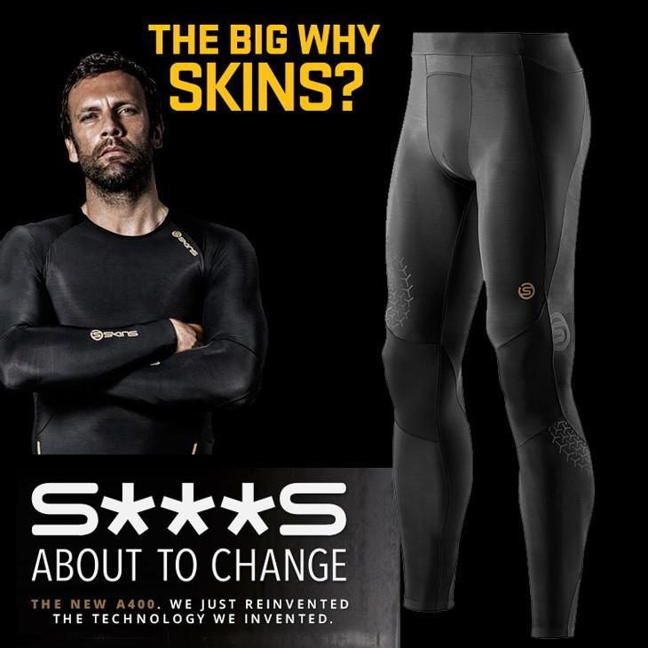 スキンズ skins a400 メンズロングタイツ BKST ブラックxスターライト K32208145D コンプレッション インナー メール便可