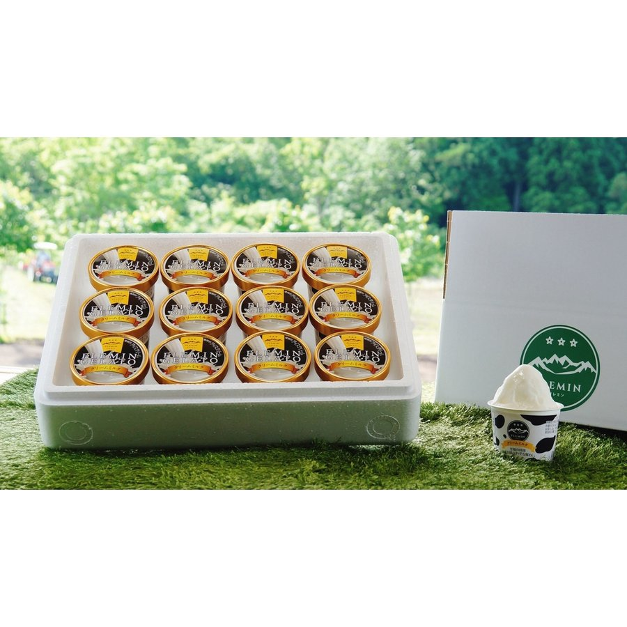 新潟県|フレミンジェラート/魚沼乳のカップアイス「クリームミルク」110ml×12個入 (バニラ・卵・香料・保存料 不使用)|flemin-spg