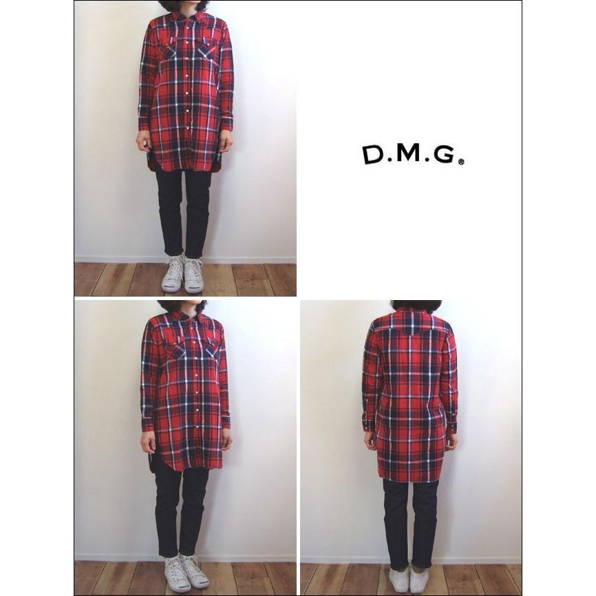D.M.G ドミンゴ DMG 16-441T 65-8 ウエスタンシャツワンピース シャギーチェック レッド ネルシャツ ワンピース フランネル Made in JAPAN 日本製|flossy|02