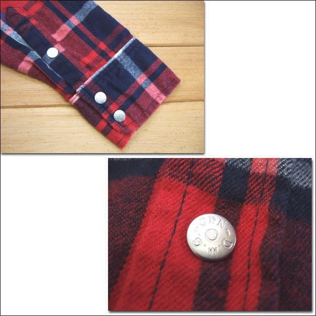 D.M.G ドミンゴ DMG 16-441T 65-8 ウエスタンシャツワンピース シャギーチェック レッド ネルシャツ ワンピース フランネル Made in JAPAN 日本製|flossy|04