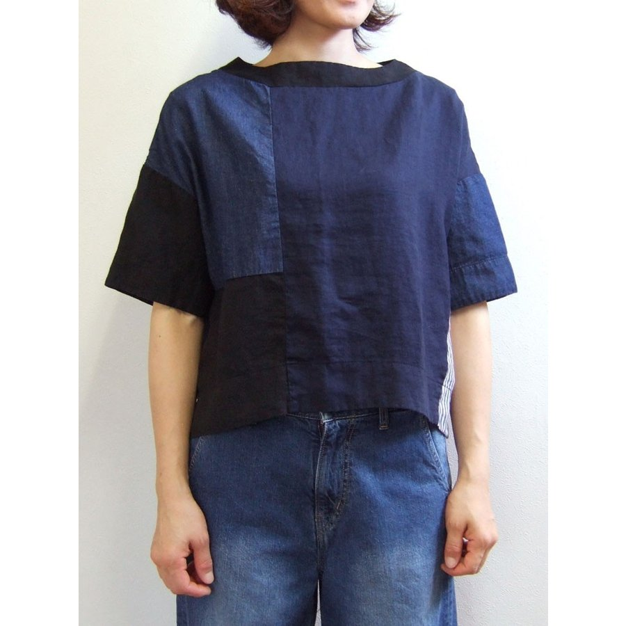 D.M.G ドミンゴ DMG 16-478L 29-8 パッチワークプルオーバーシャツ リネンキャンバス 麻 デニム ボートネック ネイビー系 送料無料 Made in JAPAN 日本製|flossy