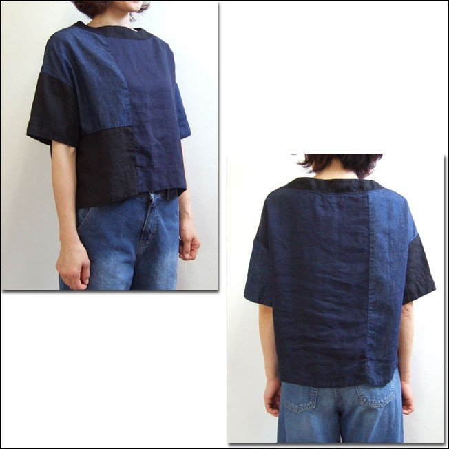 D.M.G ドミンゴ DMG 16-478L 29-8 パッチワークプルオーバーシャツ リネンキャンバス 麻 デニム ボートネック ネイビー系 送料無料 Made in JAPAN 日本製|flossy|02