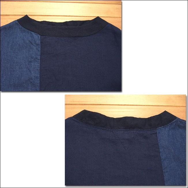 D.M.G ドミンゴ DMG 16-478L 29-8 パッチワークプルオーバーシャツ リネンキャンバス 麻 デニム ボートネック ネイビー系 送料無料 Made in JAPAN 日本製|flossy|03