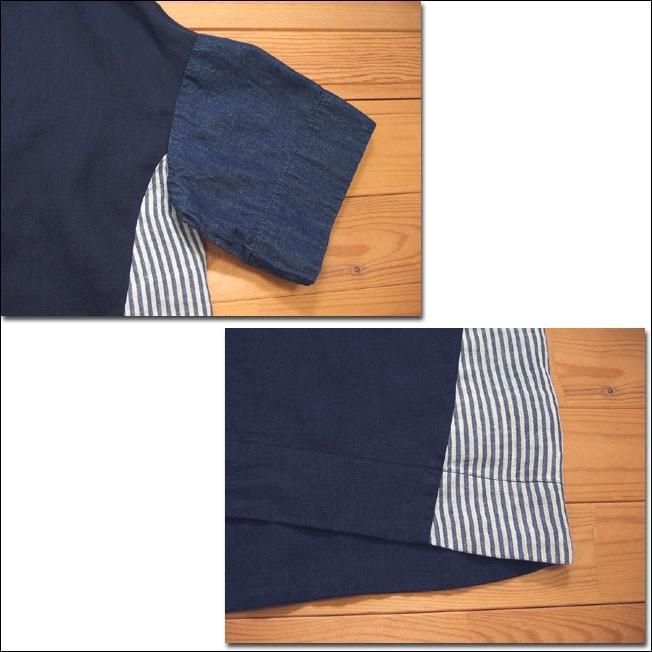 D.M.G ドミンゴ DMG 16-478L 29-8 パッチワークプルオーバーシャツ リネンキャンバス 麻 デニム ボートネック ネイビー系 送料無料 Made in JAPAN 日本製|flossy|04
