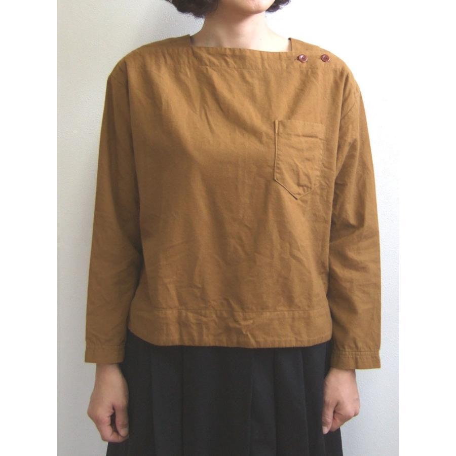 D.M.G ドミンゴ DMG 16-488T 38-5 スクエアネックシャツ  フランネル Flannel コットン ネル フラノ ブロンズ Made in JAPAN 日本製|flossy