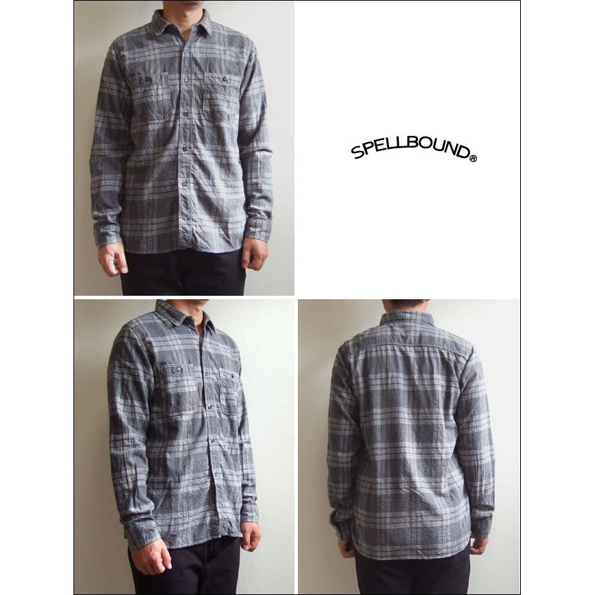 SPELLBOUND スペルバウンド ドミンゴ 46-158T 16-8 オーセンティックワークシャツ グレー チェックシャツ ネル 起毛 長袖  Made in JAPAN 日本製|flossy|02