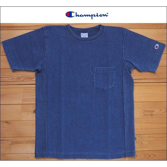 Champion チャンピオン リバースウィーブTシャツ C3-H307 ストーンウォッシュブルー REVERSE WEAVE 9.4oz TEE クルーネック カットソー flossy