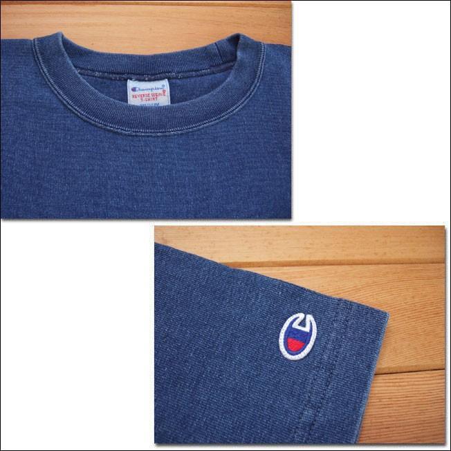 Champion チャンピオン リバースウィーブTシャツ C3-H307 ストーンウォッシュブルー REVERSE WEAVE 9.4oz TEE クルーネック カットソー flossy 02