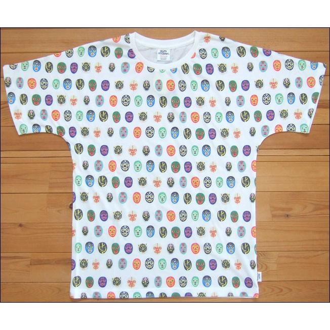 メール便可 gym master ジムマスター ハッピーペイントTee Tシャツ 覆面レスラー マスクマン 総柄 カットソー 半袖 おっさんずラブ 田中圭 G733303 flossy