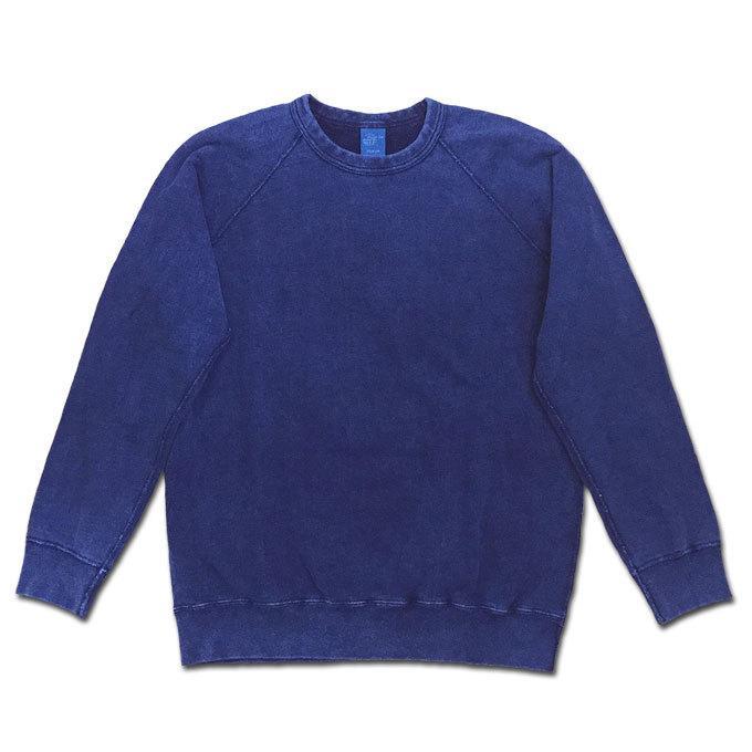 Good On グッドオン L/S RAGLAN CREW SWEAT SHIRTS ラグランクルースウェットシャツ スウェット トレーナー INDIGO SHAVE インディゴ 藍染め GOBW-101|flossy