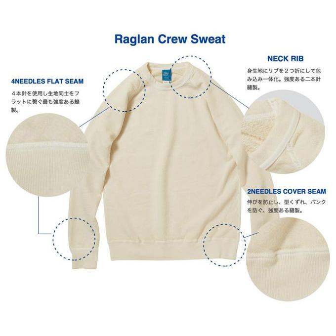 Good On グッドオン L/S RAGLAN CREW SWEAT SHIRTS ラグランクルースウェットシャツ スウェット トレーナー INDIGO SHAVE インディゴ 藍染め GOBW-101|flossy|06