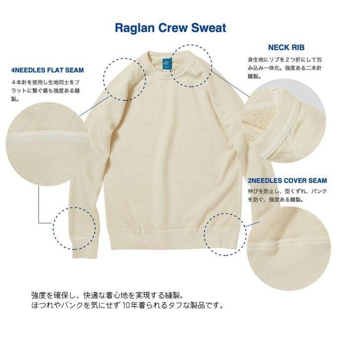 Good On グッドオン L/S RAGLAN CREW SWEAT SHIRTS P-LATTE ラテ ラグランクルースウェットシャツ スウェット トレーナー COTTONUSA GOBW-101|flossy|05