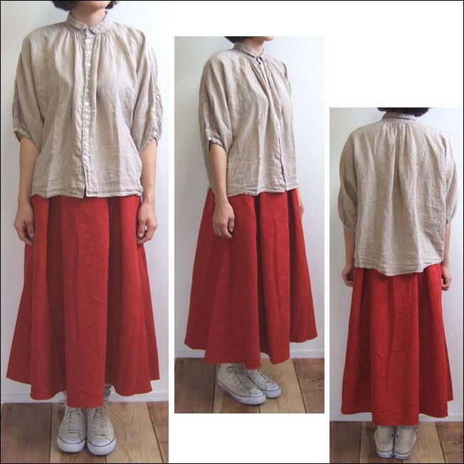 Lil nina タックフレアスカート フェイクスウェード レッド ポケット付|flossy|02