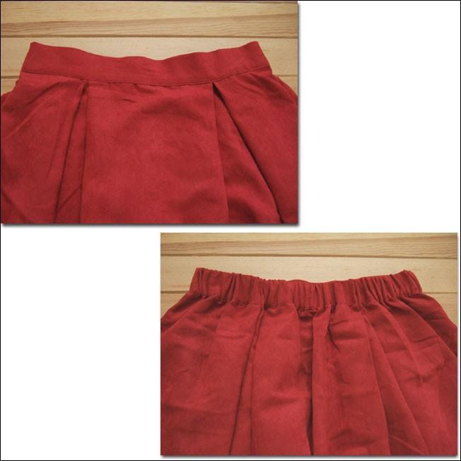 Lil nina タックフレアスカート フェイクスウェード レッド ポケット付|flossy|03