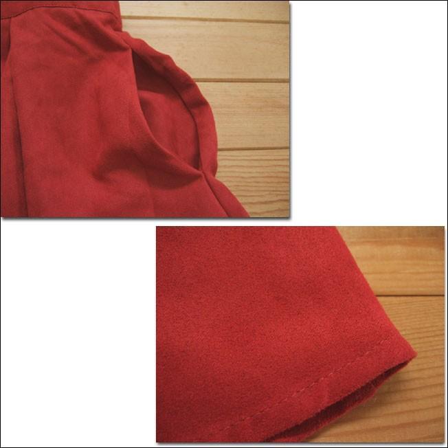 Lil nina タックフレアスカート フェイクスウェード レッド ポケット付|flossy|04