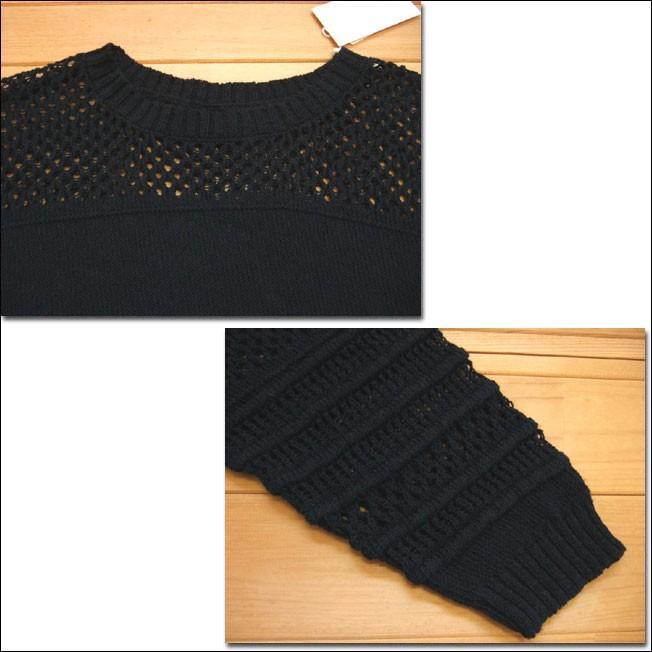 Hunch ハンチ すかしニットプルオーバー ブラック サマーニット セーター ボーダー すかし編み 柄編み 7分袖|flossy|03