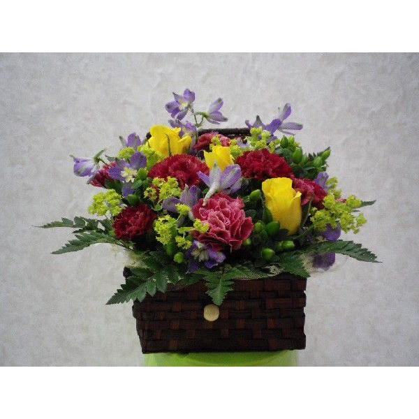 フタ付カゴのフラワーアレンジ flower-8729 03